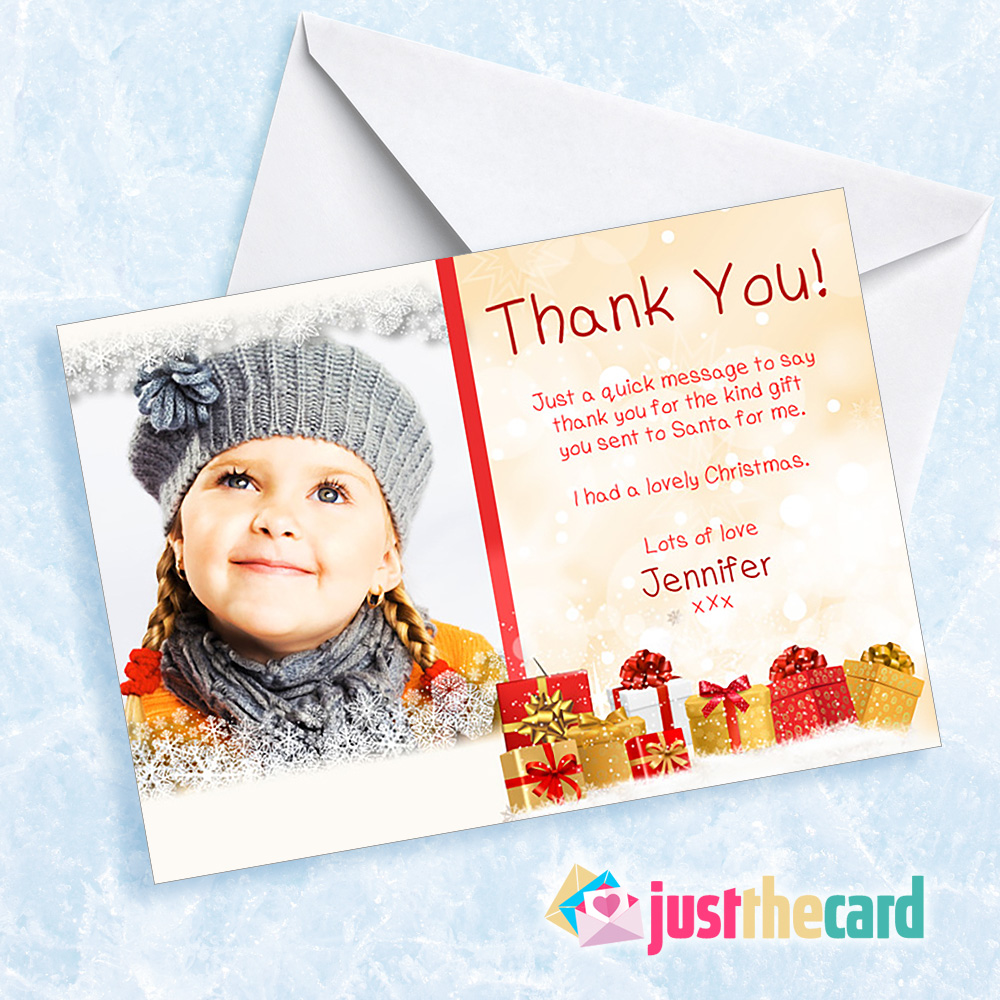10 Childrens Photo Christmas Present Personalised Thank You Cards Ebay