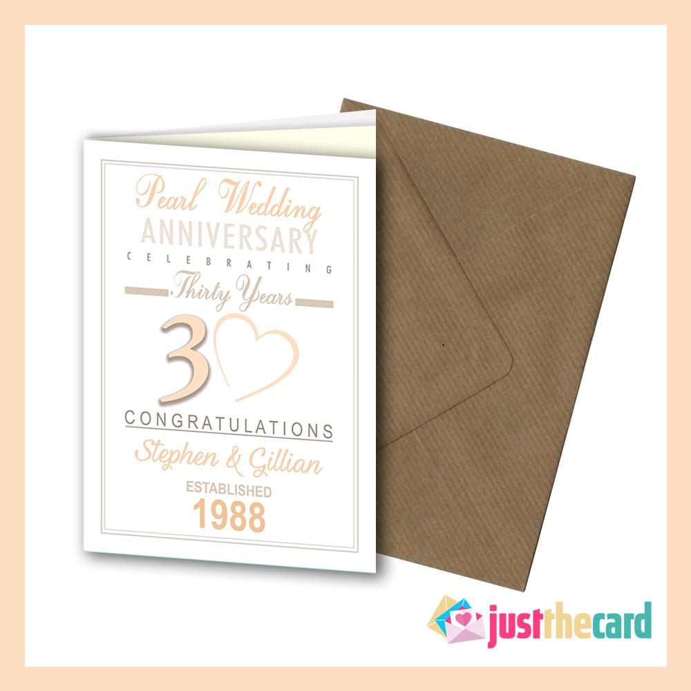 Personalised 30th Wedding Anniversary Pearl Greeting Card Envelope