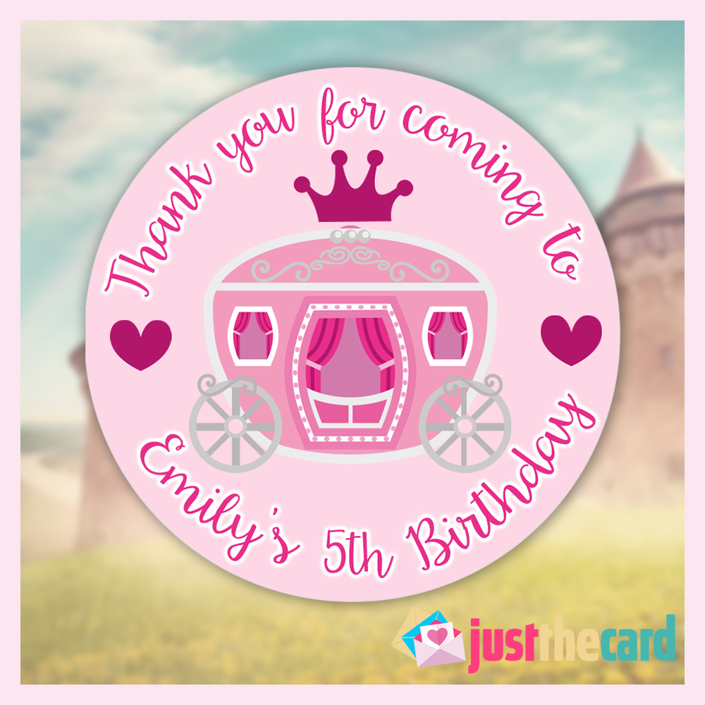 Buy personalised princess birthday party stickers thank you cake bag labels 18