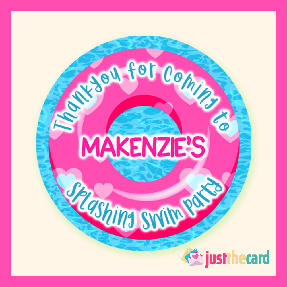 Buy 18 personalised kids swimming party theme stickers
