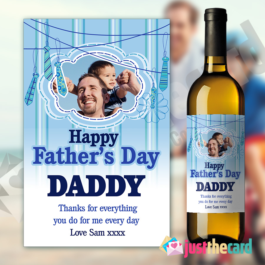 I Love Daddy Personalised Blue Fathers Day Wine Label
