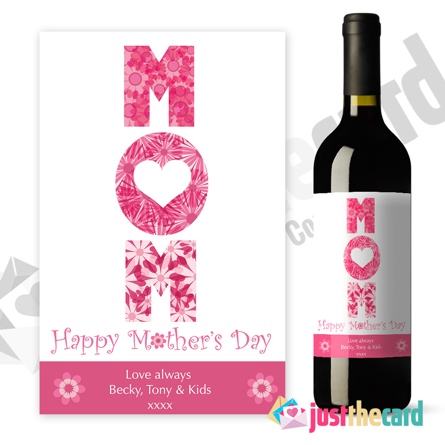 This is a graphic of Adorable Mother's Day Wine Labels