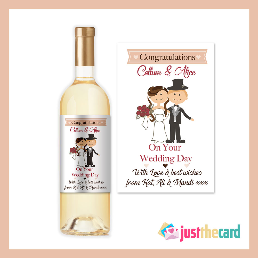 Wine As Wedding Gift: Personalised Wedding Congratulations Bride And Groom Wine