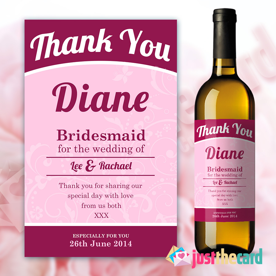 Personalised Pink Bridesmaid Thank You Wine/Champagne Bottle Label ...