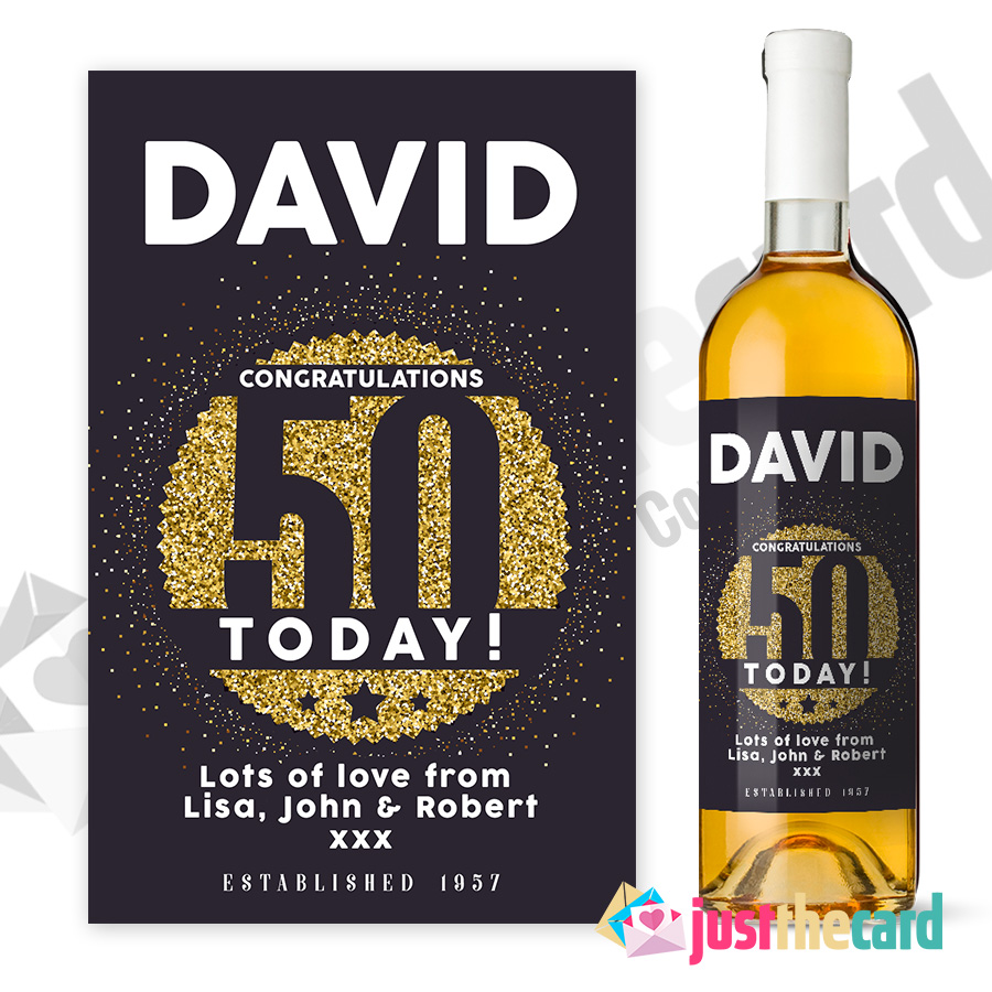 Buy Personalised 50th Birthday Wine Label Gift