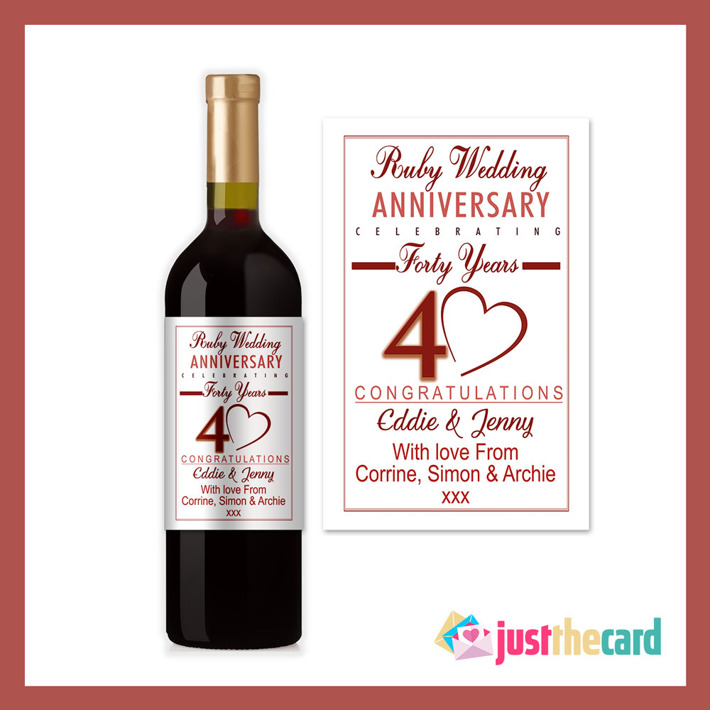 Personalised 40th Wedding Anniversary Ruby Wine Label Gift Ebay